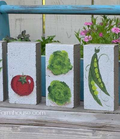 Bricks painted with vegetables, how to paint a tomato