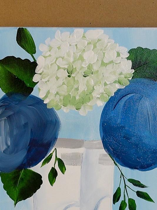 Paint white hydrangeas petals