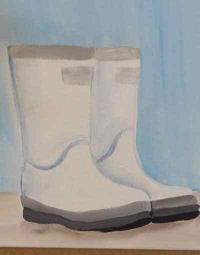 Boots painted in acrylics