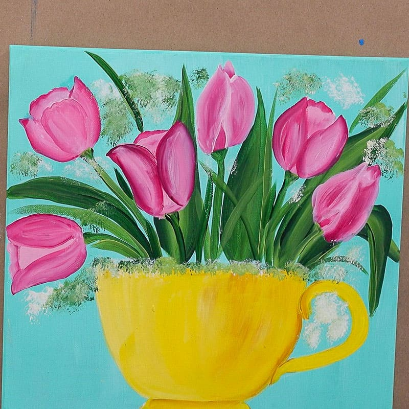 add airy background foliage to tulip painting