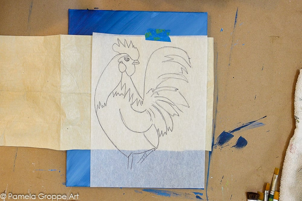 tape down rooster drawing traceable