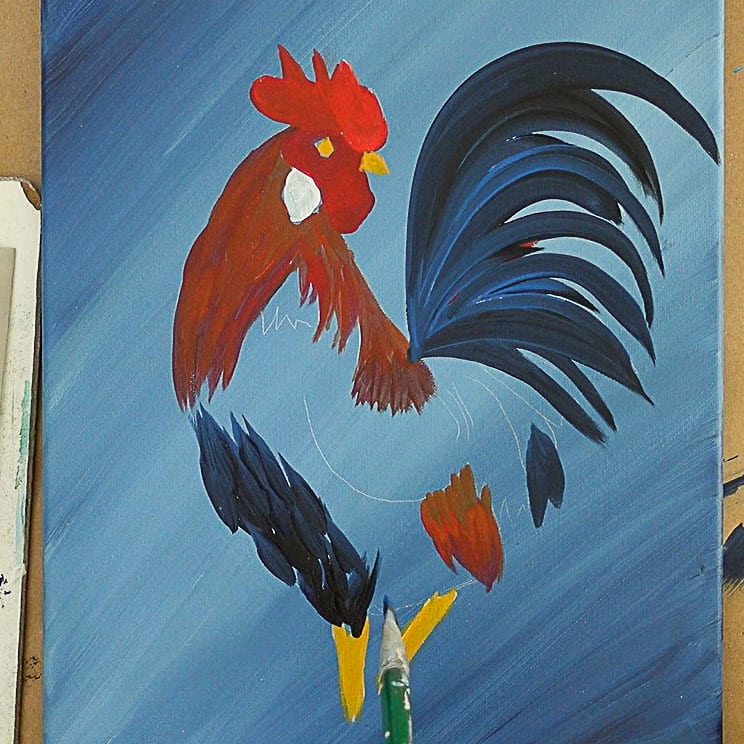Painting the Rooster Body beginning