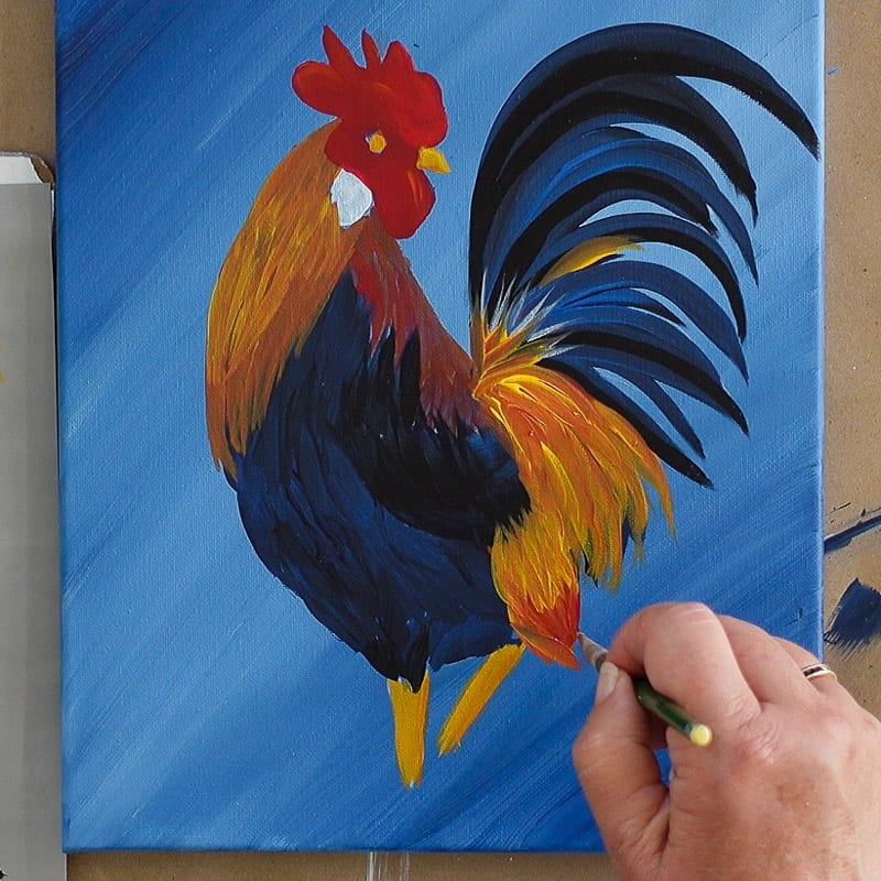 Adding some details to the rooster painting, Pamela Groppe Art