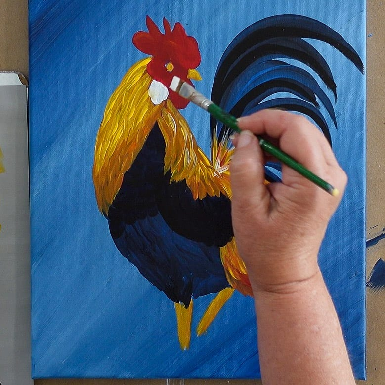 Paint rooster earlobe with Wicker White, Paint a Rooster