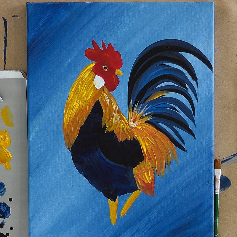 eye highlights on rooster painting