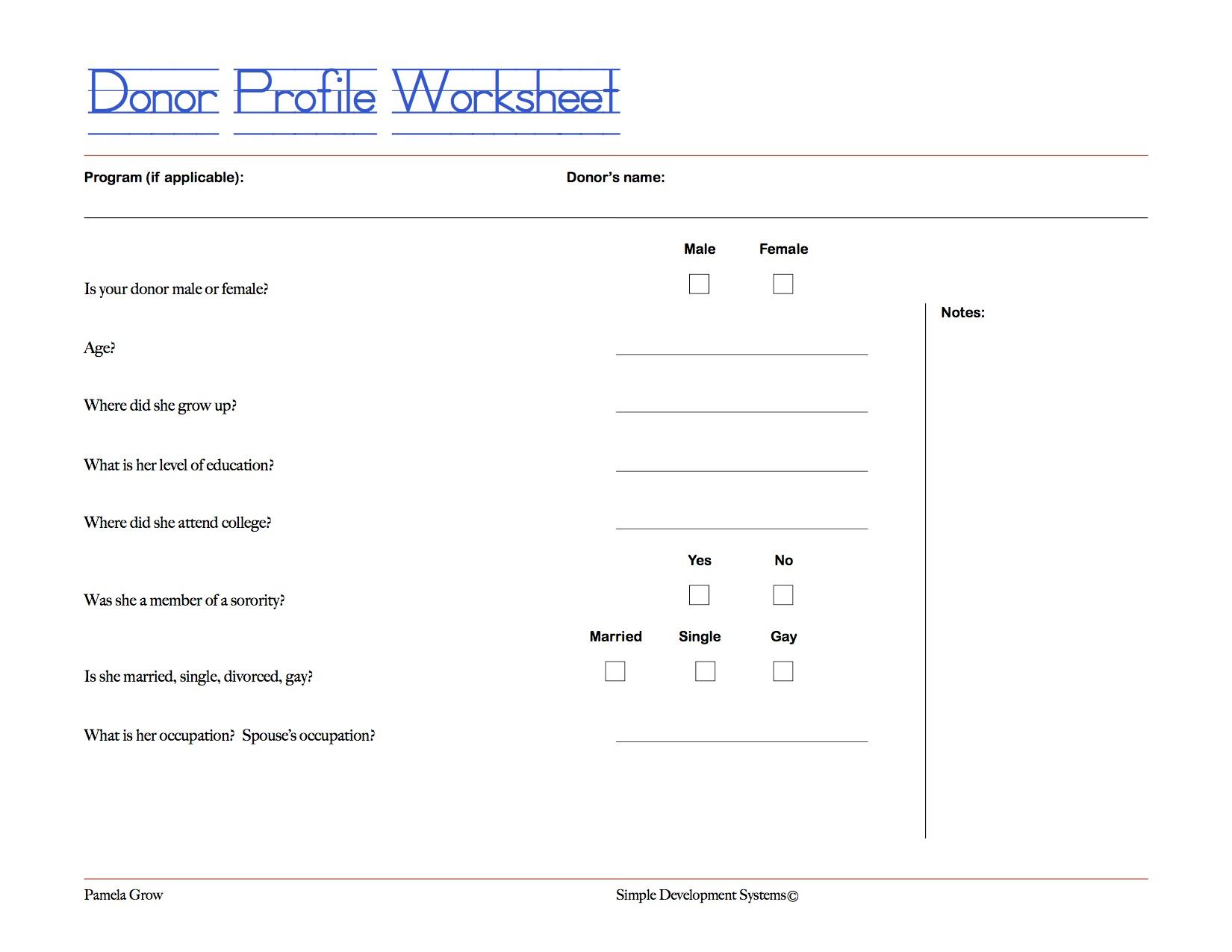 Donorprofile Worksheet