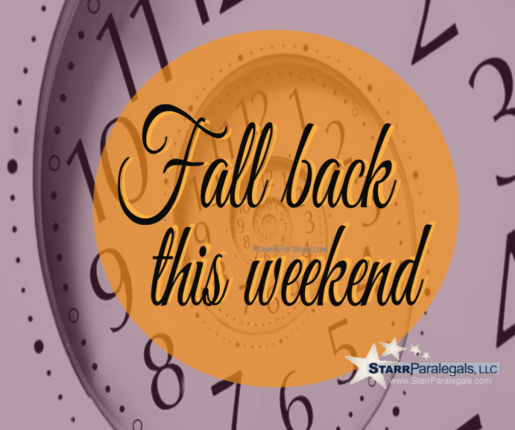 Fall back - turn your clock back this weekend