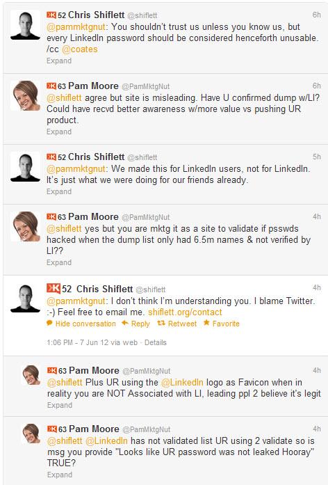 LinkedIn Twitter Hacked @Shiflett Conversation