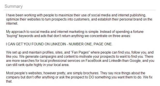 LinkedIn blatant promotion social media search