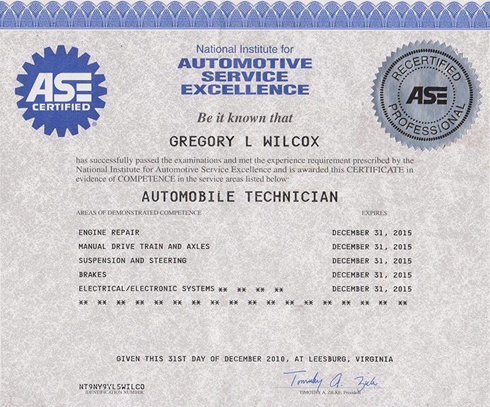 Certification European Car Service Experts Bmw