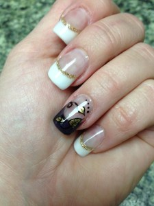 white tips with gold leaves