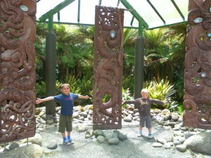 Maori carvings and the boys