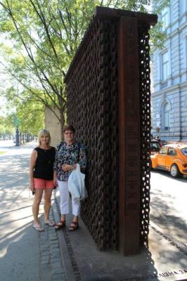 Judy and Teresa at the iron curtain