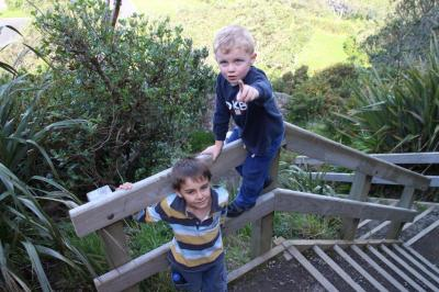 Starting the climb. Christian trying to tell Robin that he is the boss. Now Grandad Robin says 'Get down Christian!'