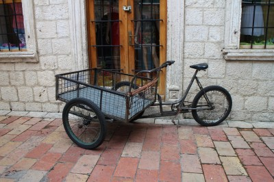 No cars in here so this bike is used to transport goods