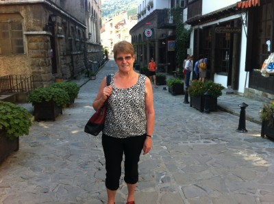Judy at the shopping street near our Hotel