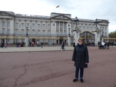 Judy outside Buckingham Palace