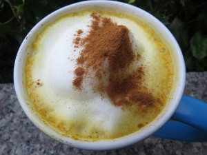 Dirty Chai with Golden Milk sprinkled with cinnamon