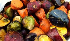 Starchy and non-starchy vegetables roasted with olive oil, salt and pepper!