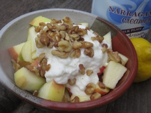 Organic Honey Crisp Apple with full fat plain yogurt, and 1 T walnuts