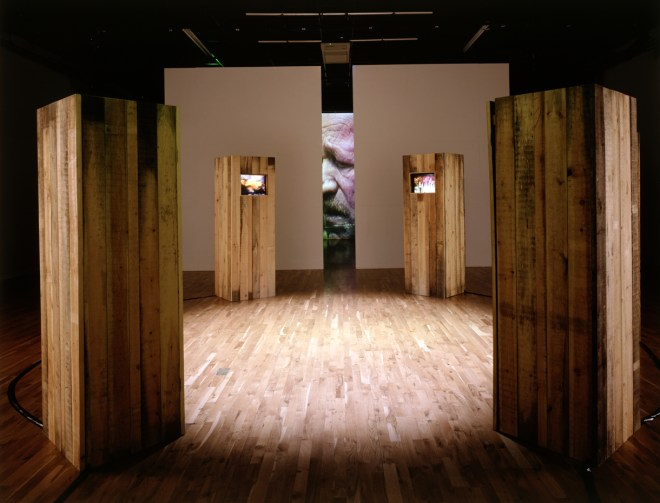 Dangerous Places: Ponar, 5 channel video installation, Ferens Art Gallery, Pam Skelton, 1994/5. Photo by Peter White 1994/5