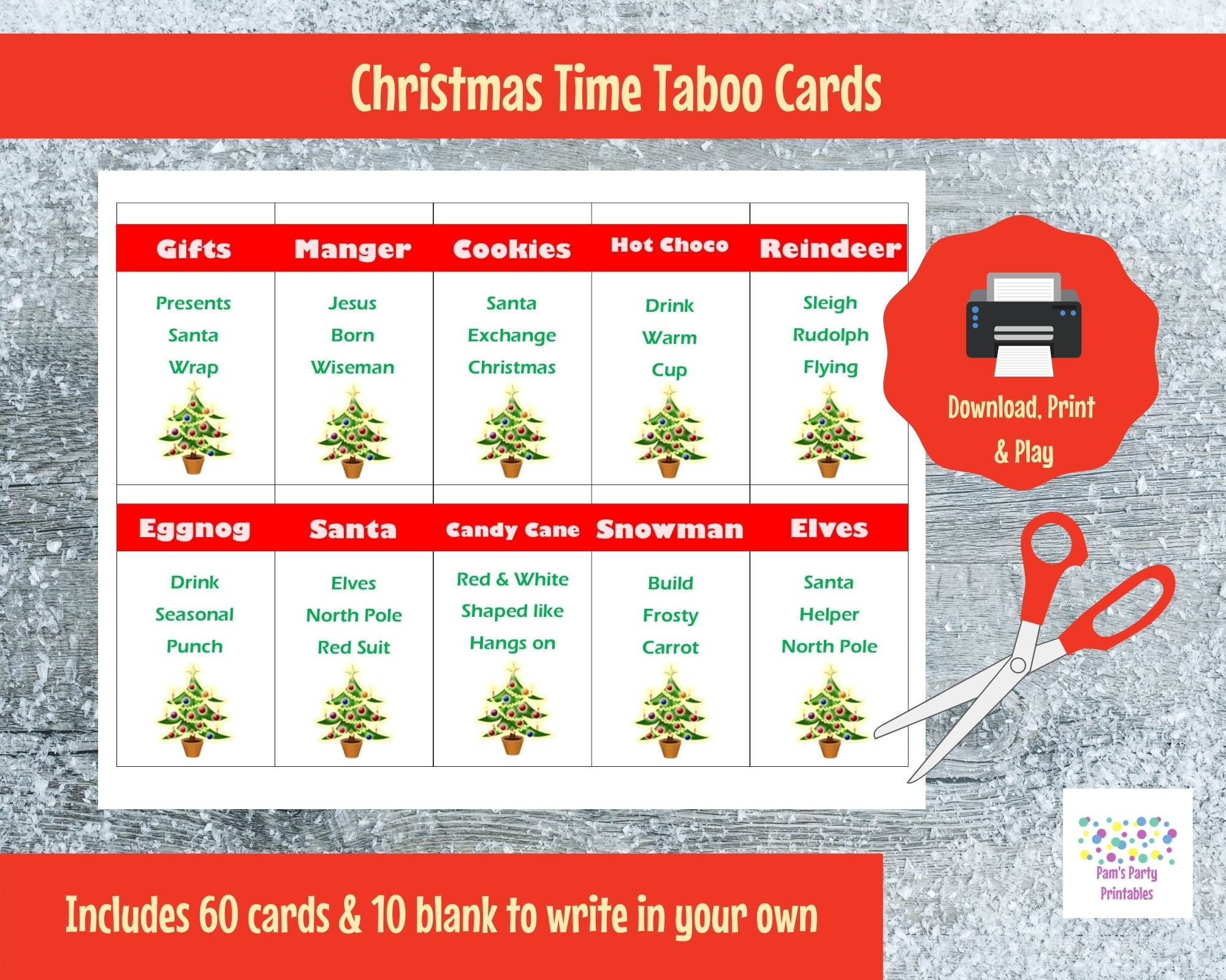 Printable Christmas Game Cards For Taboo Group Game Family Game All Ages Instant Download Pam S Party Place