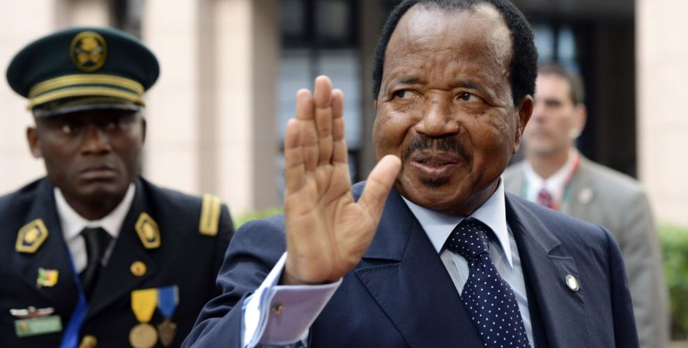 FILE - Cameroon's President Paul Biya waves as he arrives at an EU-Africa summit on April 3, 2014, at EU Headquarters in Brussels.