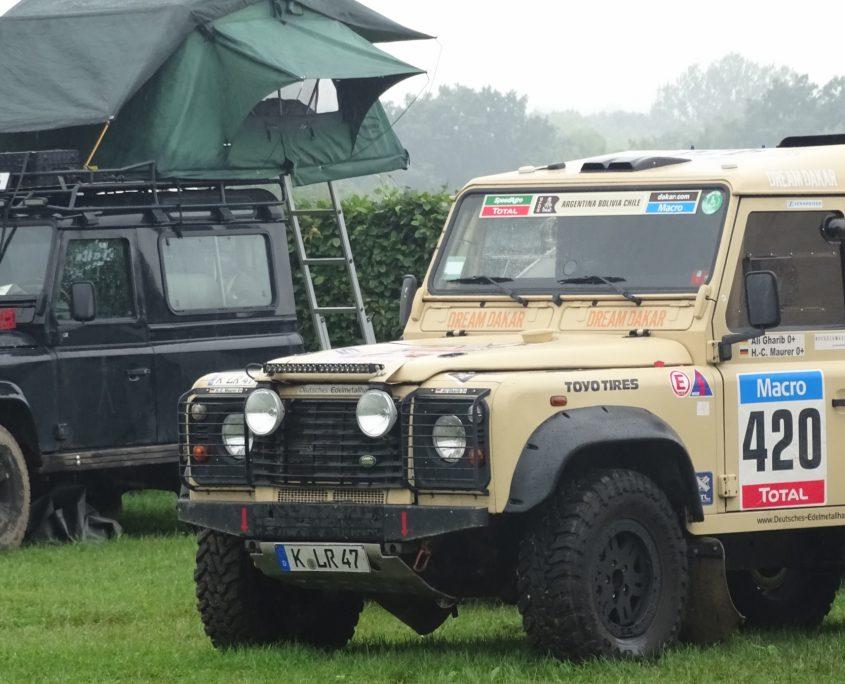 Der Rally Dakar-Defender auf den Landyfriends Adventure Days im Mammutpark