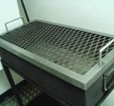 Hot Coal Catcher with Lid On - lid designed as a chop griller