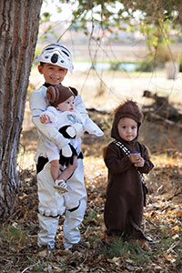 "May the force be with you! Ian, Isaac and Emlee Maglinte channel favorite ""Star Wars"" characters on Halloween 2014."