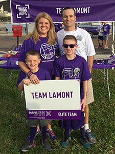 Robb Lamont with wife Lori and sons Ryan and John at PurpleStride Tampa Bay 2015.