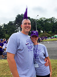 You can't Wage Hope without a purple mohawk! Katie and Justen at PurpleStride St. Louis in 2015.