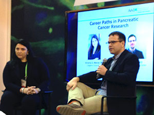 Drs. Victoria Manax and Ken Olive address attendees interested in pancreatic cancer careers.