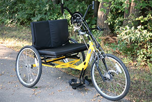 The custom made bike that allowed Doug to get back out on the trails again after his injury.