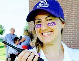 Shanle Vandermeer at PurpleStride Omaha as a staff member of the Pancreatic Cancer Action Network.