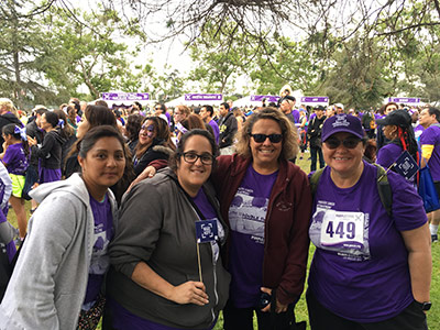 Christina Machado (second from left) with fellow Sally Ride Elementary staff members at PurpleStride Los Angeles 2016.