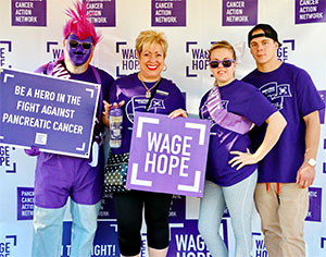 Pam (center) with supporters at PurpleStride Los Angeles