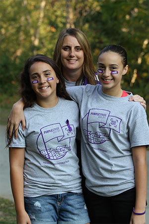 Nichole Velasquez, Boise Affiliate Media Relations Chair, with daughters Hannah and Julia at PurpleStride Boise 2015.