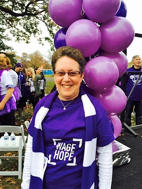 Randi Jacobs, a seven-year pancreatic cancer survivor, at PurpleStride Philadelphia, 2015.