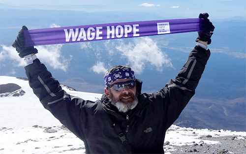 Joe Heiden, pancreatic cancer survivor, on Mount Adams in Oregon, after cancer diagnosis