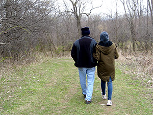 Erin and her father hiking