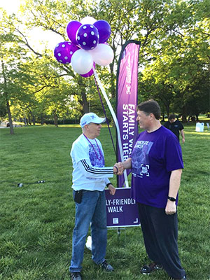 Andrew Miller and five-year pancreatic cancer survivor Mark Hurst