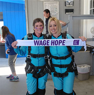 Natascha Martin and Susie Lemieux before skydiving