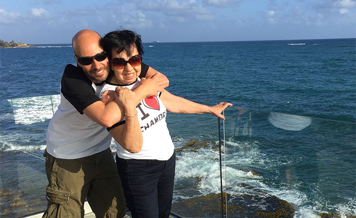 On the last mom-son trip, Nilsa Brady and Mykel Crerie visited Costa Rica. Nilsa was diagnosed with pancreatic cancer a few weeks later.