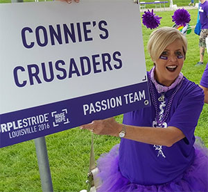 Susan Jonas, founder of Connie's Crusaders PurpleStride team, raising funds at the Louisville walk