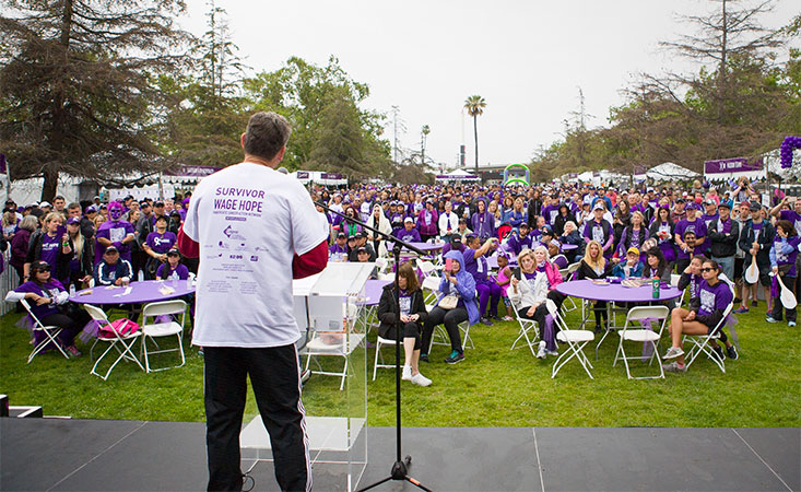 PA pancreatic cancer survivor gives a speech at PurpleStride 5K walk to raise awareness and funds