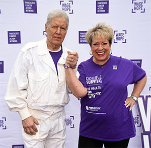 Founder of pancreatic cancer advocacy organization with celebrity Alex Trebek