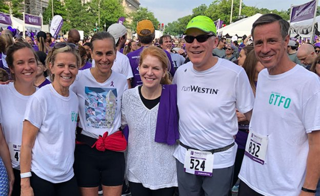 Marriott CEO and pancreatic cancer survivor with teammates at 5K walk/run in Washington, D.C.