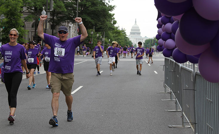 Participants at 10th anniversary of PurpleStride Washington, D.C., 5K walk/run event