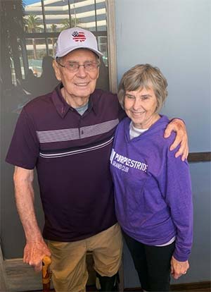Pancreatic cancer survivor Carl Brunson and wife, fundraisers for PanCAN PurpleStride walk